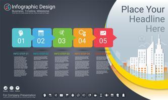 Modello di infografica aziendale, cronologia di Milestone o mappa stradale con opzioni del diagramma di flusso di processo 5.