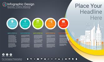Modello di infografica aziendale, cronologia di Milestone o mappa stradale con opzioni del diagramma di flusso di processo 5. vettore