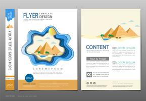 Vettore del modello di progettazione del libro delle coperture, concetto di viaggio e di turismo.
