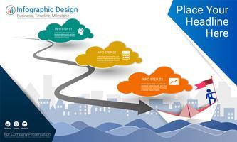 Rapporto infografica aziendale, cronologia di Milestone o mappa stradale con opzioni del diagramma di flusso del processo 3.