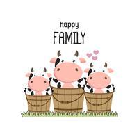 Cute cow Family Father Madre e bambino.