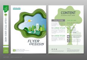 Vettore del modello di progettazione del libro delle coperture, concetto verde di energia.