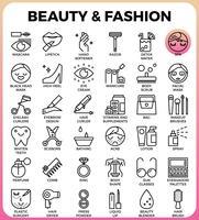 Set di icone di bellezza e moda