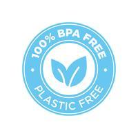 100% senza BPA. Icona 100% senza plastica.