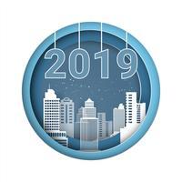 Felice anno nuovo 2019. Design Biglietto di auguri o modello di copertina del calendario. stile di arte cartacea