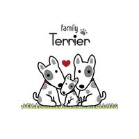 Famiglia di cani Terrier Padre Madre e neonato. vettore