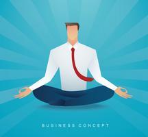 uomo d'affari che si siede nella meditazione di posa del loto. liberare la sua mente