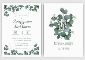 Invito a nozze di vegetazione, invito di nozze di eucalipto modello.