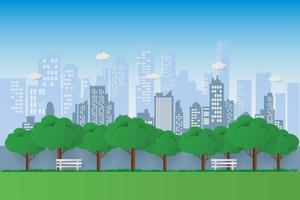 Natura in un bellissimo parco urbano. Banco del parco della città con il fondo verde delle costruzioni della città e dell'albero. esercitare e rilassarsi vettore