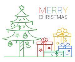 Buon Natale e Felice Anno nuovo. sfondo di Natale. stile arte linea sottile.