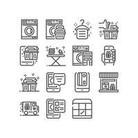 Lavanderia, set di icone di linea sottile per applicazione mobile e applicazione web. Pixel perfetto.