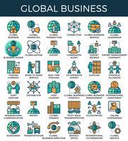 Icone di concetto di business globale