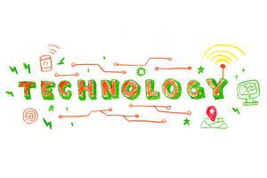Illustrazione parola tecnologia vettore