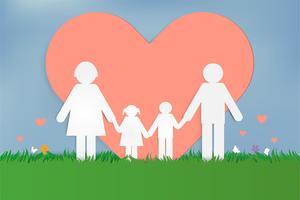 Happy Love Family. Felice festa dei genitori con padre, madre e figli. Design di arte della carta.