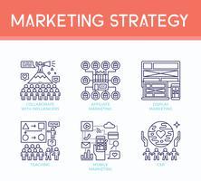 Icone dell'illustrazione di strategia di marketing