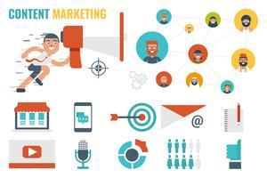 concetto di content marketing vettore
