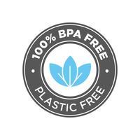 100% senza BPA. Icona 100% senza plastica. vettore