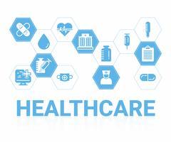 Sfondo medico e sanitario. concetto di diagnosi e trattamento sanitario. vettore