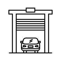 Auto in garage Linea icona nera vettore