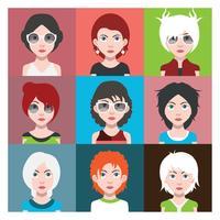 Set di avatar di persone con sfondi vettore