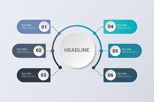 Concetto di infografica Flow Chart Design. Concetto di business con 6 opzioni, passaggi o processi. vettore