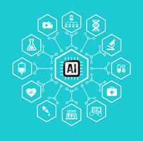 AI Intelligenza artificiale Tecnologia per l'assistenza sanitaria e l'elemento medico dell'icona e del design vettore