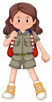 Un personaggio di ragazza scout vettore