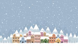 Inverno in stile piatto urbano con neve che cade e montagna 001