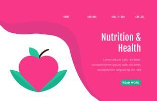 Pagina di atterraggio sul cibo sano con mela e foglie vettore