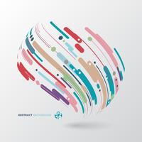 Estratto di stile moderno con composizione fatta di varie linee di avvolgimento cerchio forme arrotondate 3d in colorato.