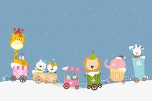 Il cartone animato animale sul treno sorride con la felicità 001