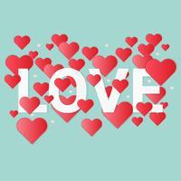 Illustrazione di amore e San Valentino, arte stile carta.