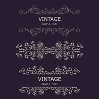Elementi decorativi vintage. Fiorisce ornamenti e cornici calligrafici. Collezione di design stile retrò per inviti, banner, manifesti, cartelli, badge