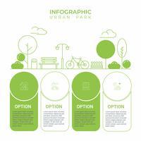 Infografica di affari Diagramma di infographics con la linea arte urbana del parco della città. modello per la presentazione. concetto di esercizio e relax.