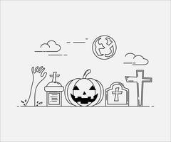 Stile arte linea piatta. design per halloween. sito Web e banner.
