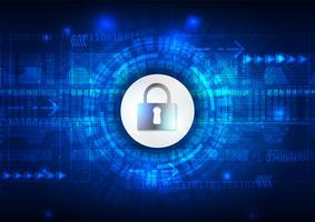 Concetto di sicurezza, lucchetto chiuso su sicurezza digitale e cibernetica, illustrazione astratta blu del fondo di vettore di tecnologia di velocità di ciao hi.