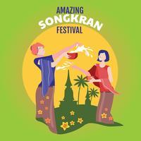 Festival di Songkran, acqua di gioco delle donne in tempio, Tailandia vettore