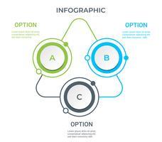 Infografica aziendale. Diagramma con 3 passaggi, opzioni o processi. Modello di infografica per la presentazione.