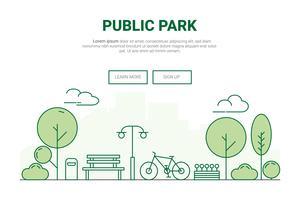 Concetto di parco giardino paesaggio urbano. design per ambiente verde sul sito della pagina di destinazione a tema città.