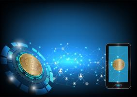 Fondo astratto di valuta digitale di Bitcoin per tecnologia, affare e vendita online, illustrazione di vettore