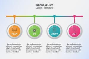 Infografica del diagramma del metodo di gestione pdca. Modello di business vettoriale per presentazione e formazione.