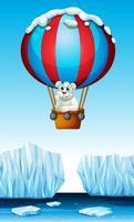 Orso polare a cavallo nel pallone vettore