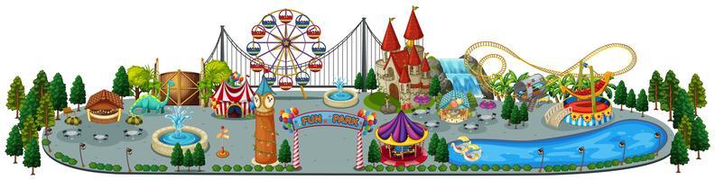 Una divertente mappa del parco divertimenti vettore