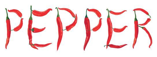peperoncino piccante su sfondo bianco con lettering Pepper vettore