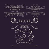 Elementi decorativi vintage. Fiorisce ornamenti calligrafici e illustrazione Frames.vector