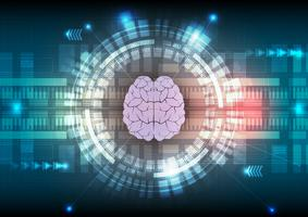 Tecnologia digitale e priorità bassa astratta del cervello. Illustrazione vettoriale