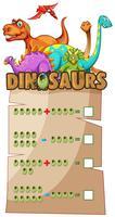 Foglio di lavoro matematico con dinosauri vettore