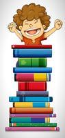 Ragazzo e pila di libri vettore