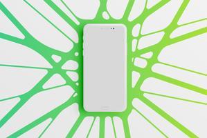 Modello di smartphone colorato per la pubblicità, illustrazione vettoriale