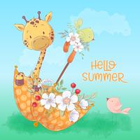 Poster di cartolina di una carina giraffa e uccelli in un ombrello con fiori in stile cartone animato. Disegno a mano